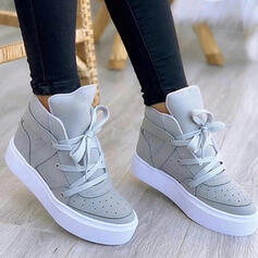 Women's PU Flat Heel Boots Ankle Boots Low Top Round Toe With Lace-up Solid Color shoes