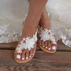 Women's PU Flat Heel Sandals Flats Toe Ring With Applique Flower Solid Color shoes