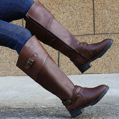 Women's PU Chunky Heel Boots Mid-Calf Boots Heels Round Toe With Buckle Zipper Solid Color shoes