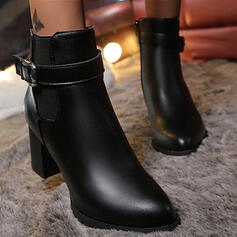 Women's PU Chunky Heel Boots Ankle Boots Heels Pointed Toe With Buckle Solid Color shoes