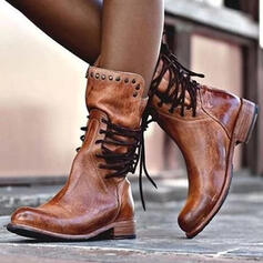 Women's Leatherette Chunky Heel Boots Round Toe With Rivet Lace-up shoes