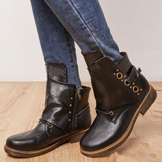 Women's PU Chunky Heel Boots Ankle Boots Mid-Calf Boots Round Toe With Lace-up Solid Color shoes