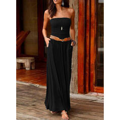 Solid Sleeveless A-line Skater Little Black/Casual Maxi Dresses
