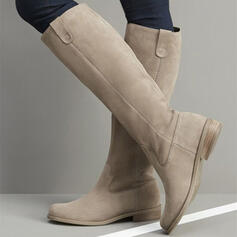 Women's Suede Flat Heel Closed Toe Boots Mid-Calf Boots Round Toe Winter Boots With Solid Color shoes