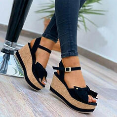 Women's PU Wedge Heel Sandals Wedges Peep Toe Heels Round Toe With Buckle Solid Color shoes