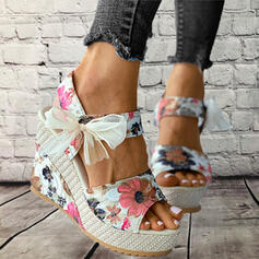 Women's Cloth Wedge Heel Sandals Platform Wedges Peep Toe Slingbacks Heels With Bowknot Stitching Lace Floral Print shoes