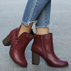 Women's PU Chunky Heel Ankle Boots Low Top Heels Pointed Toe With Zipper Solid Color shoes