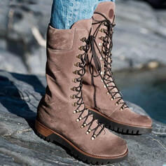 Women's PU Wedge Heel Mid-Calf Boots Martin Boots Round Toe With Lace-up Solid Color shoes