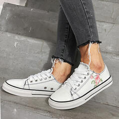 Women's Cloth Flat Heel Flats Round Toe Sneakers With Lace-up shoes