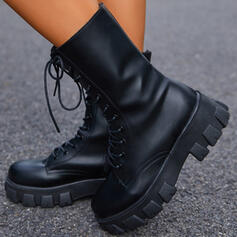 Women's PU Chunky Heel Platform Boots Mid-Calf Boots Martin Boots Round Toe With Lace-up Solid Color shoes