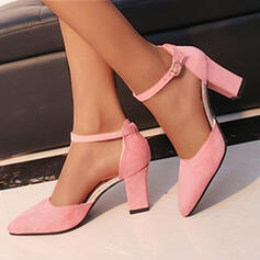 Women's Suede Chunky Heel Pumps Heels Pointed Toe With Buckle Solid Color shoes
