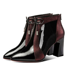 Women's PU Chunky Heel Ankle Boots Low Top Pointed Toe With Rhinestone Bowknot Zipper Splice Color shoes