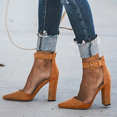 Women's Suede Chunky Heel Pumps Closed Toe Pointed Toe With Buckle Solid Color shoes