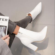 Women's PU Chunky Heel Boots Ankle Boots With Solid Color shoes
