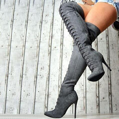 Women's Suede Stiletto Heel Over The Knee Boots Pointed Toe With Zipper Lace-up Solid Color shoes