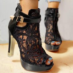 Women's Mesh Stiletto Heel Pumps Peep Toe Heels With Bowknot Hollow-out Solid Color shoes
