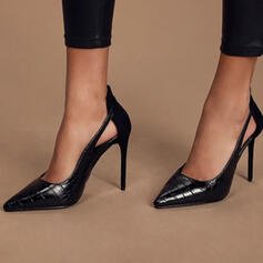 Women's PU Stiletto Heel Pumps Pointed Toe With Hollow-out Solid Color shoes