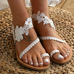 Women's Leatherette Flat Heel Sandals Flats Toe Ring With Applique Stitching Lace Flower shoes