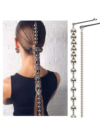 Unique Fashionable Elegant Alloy With Beads Faux Pearl Metal Chain Décor Women's Ladies' Girl's Hair Accessories 1 PC