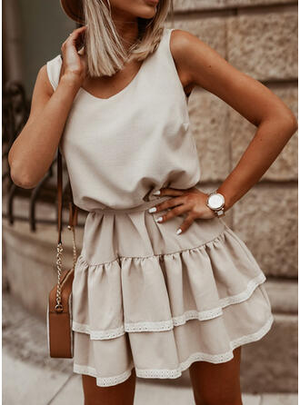 Lace/Solid/Backless Sleeveless A-line Above Knee Casual Skater Dresses