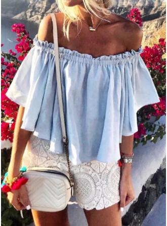 Solid Off the Shoulder 3/4 Sleeves Casual Blouses