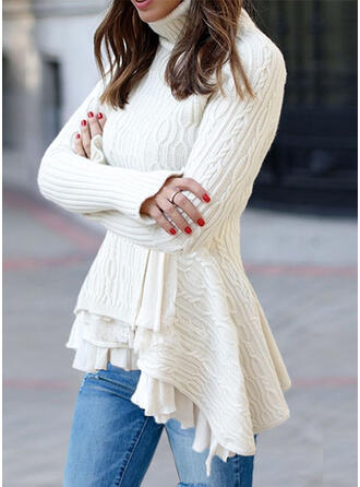 Solid Cable-knit Turtleneck Casual Asymmetrical Sweaters