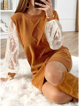 Lace Round Neck Casual Long Sweater Dress