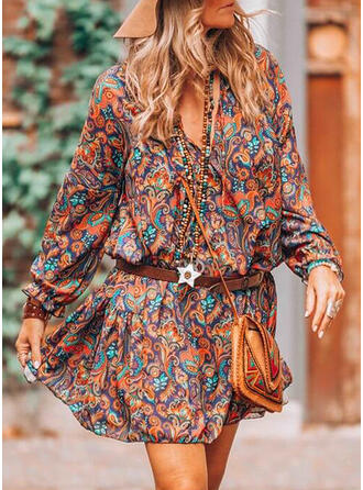 Print Long Sleeves A-line Above Knee Casual/Boho/Vacation Skater Dresses