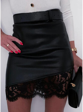 Polyester Plain Lace Above Knee Bodycon Skirts