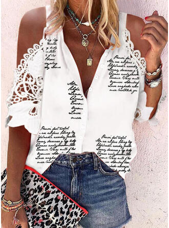 Print Lace Letter Cold Shoulder 1/2 Sleeves Casual Shirt Blouses