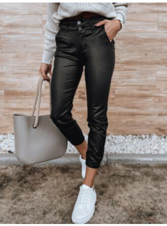Solid PU Cropped Casual Plus Size Pocket Button Pants