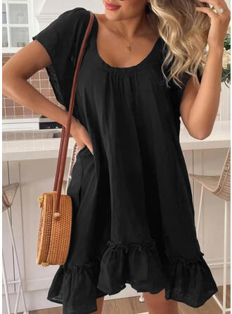 Solid Short Sleeves Shift Above Knee Little Black/Casual Tunic Dresses