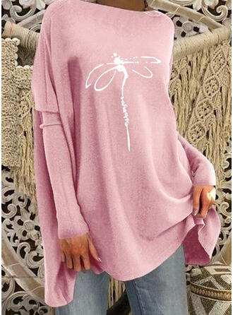 Print Animal Letter Round Neck Long Sleeves Dropped Shoulder Casual Blouses