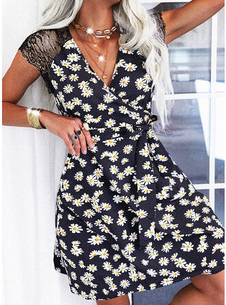 Lace/Print/Floral Cap Sleeve A-line Above Knee Casual Wrap/Skater Dresses