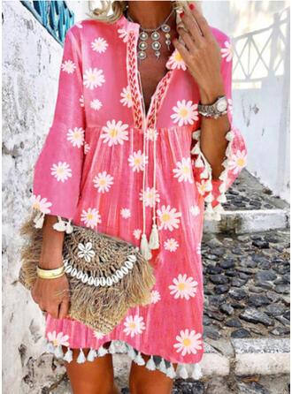 Colorful V-Neck Plus Size Colorful Boho Cover-ups Swimsuits