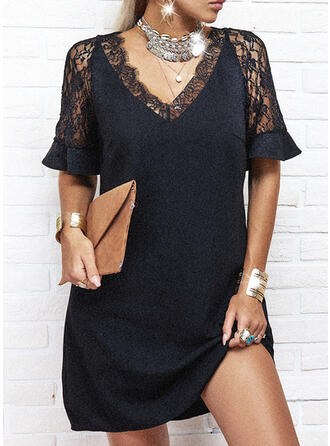 Lace/Solid Short Sleeves Shift Above Knee Little Black/Casual Tunic Dresses