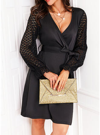 Solid Lace Long Sleeves A-line Above Knee Little Black/Casual Wrap/Skater Dresses