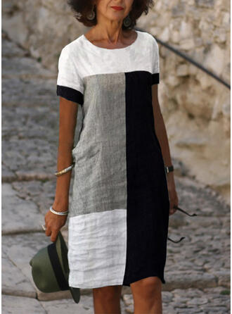 Color Block Short Sleeves Shift Knee Length Casual Tunic Dresses
