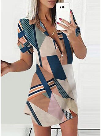Color Block/Striped 1/2 Sleeves Sheath Above Knee Casual Shirt Dresses