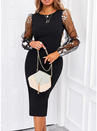 Print Lace/Sequins Long Sleeves Puff Sleeve Bodycon Knee Length Elegant Pencil Dresses