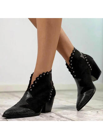 Women's PU Chunky Heel Pumps Ankle Boots Pointed Toe With Rivet shoes