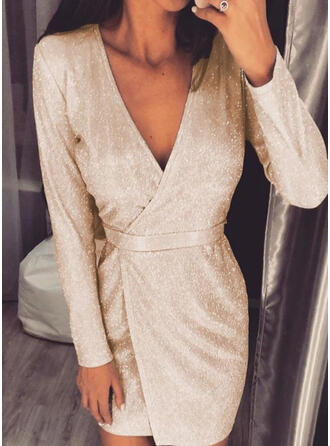 Solid Sequins Long Sleeves Bodycon Above Knee Party/Elegant Dresses