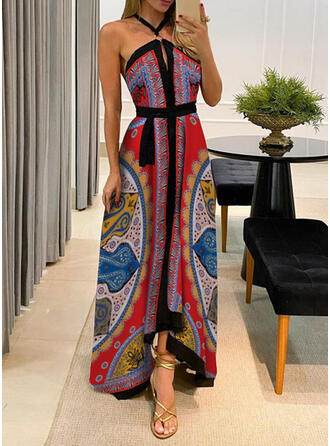 Print/Backless Sleeveless A-line Skater Sexy/Party Maxi Dresses