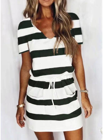 Color Block Patchwork Drawstring Striped Stretchy Suits