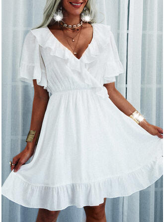 Solid Short Sleeves/Flare Sleeves A-line Above Knee Casual Wrap/Skater Dresses