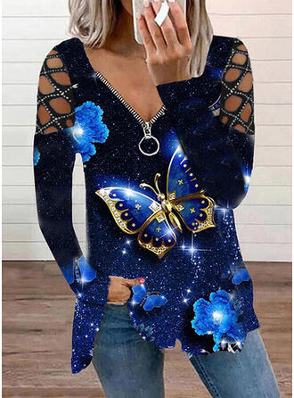 Print Butterfly Cold Shoulder Long Sleeves T-shirts