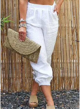 Solid Pockets Plus Size Casual Solid Pants