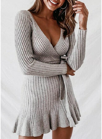 Solid Ribbed V-Neck Casual Long Sweater Dress