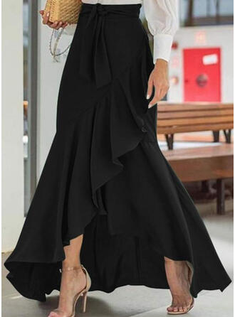 Solid Floor Length Flared Skirts