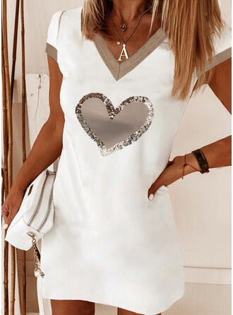 Print/Sequins/Heart Short Sleeves Shift Above Knee Casual T-shirt Dresses